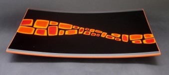 PLATTER, #2, fused and slumped 44cm x 24cm. - Sold